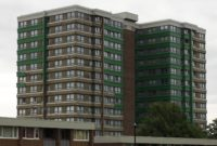 Tower Block With Cladding Exposed In Sheffield 2017